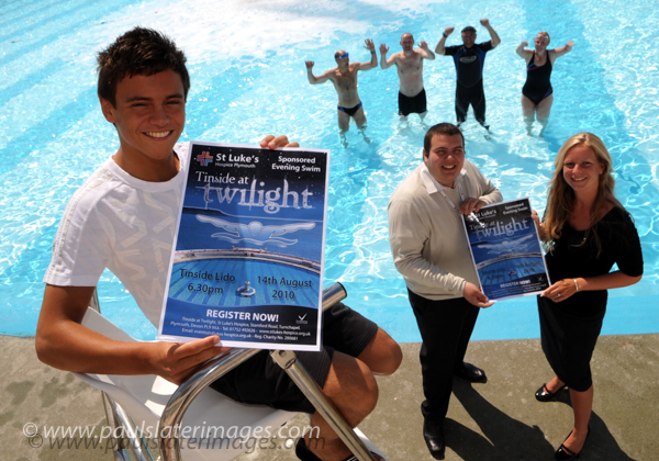 A young Tom Daley promotes a St Lukes Hospice swimming event at the TInside Lido on Plymouth Hoe.