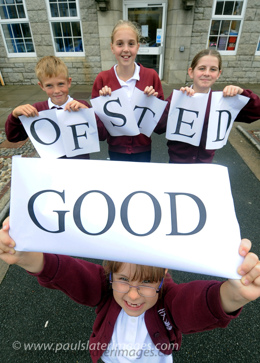 Pupils from a school in Cornwall celebrate a good Ofsted report.