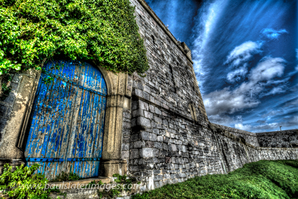 Blue door in the walls of The Citadel on Plymouth Hoe, Devon.