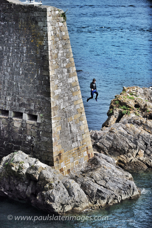 Tombstoning on Plymouth Hoe - A usual but dangerous pass time for youngsters during the summer month's.