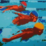 OLYMPIC SWIMMERS Acrylic on canvas 100X100cm £1,450