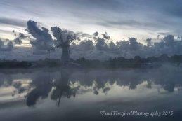 Thurne wind pump misty dawn