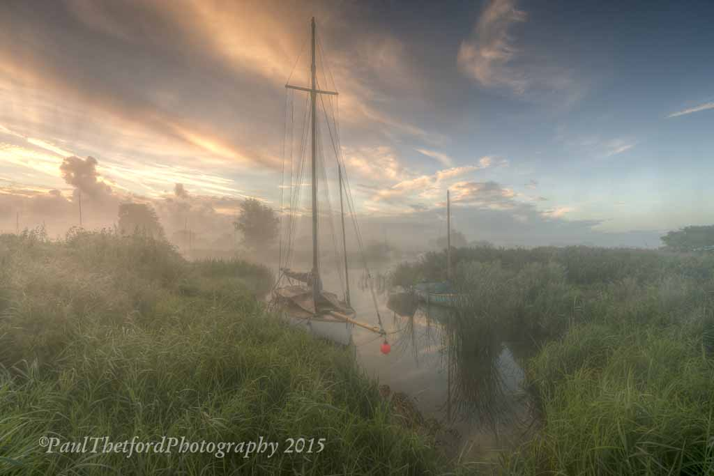 Misty dawn Norfolk Broads