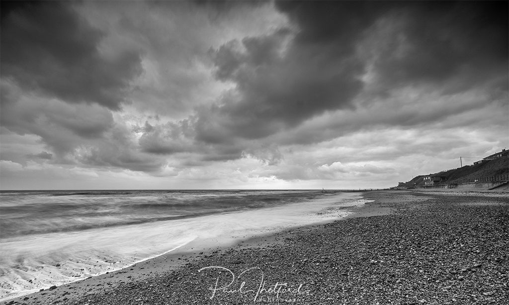 Moody skies Mundesley black and white