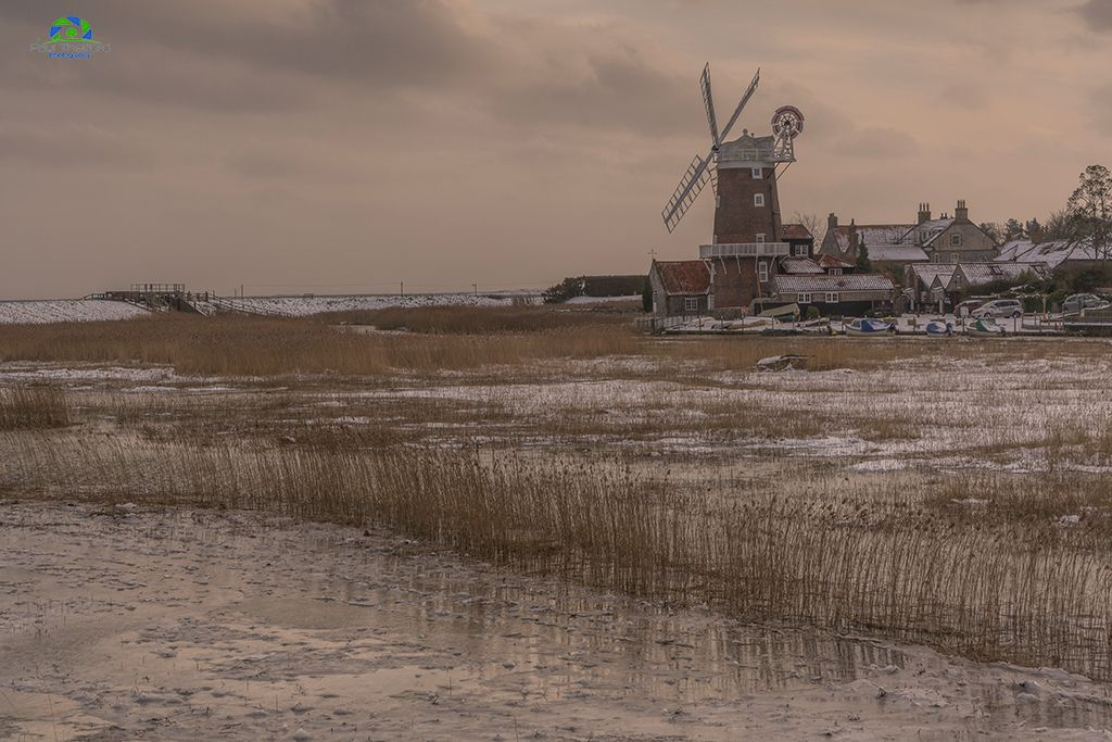 Across the marsh, Cley Mill