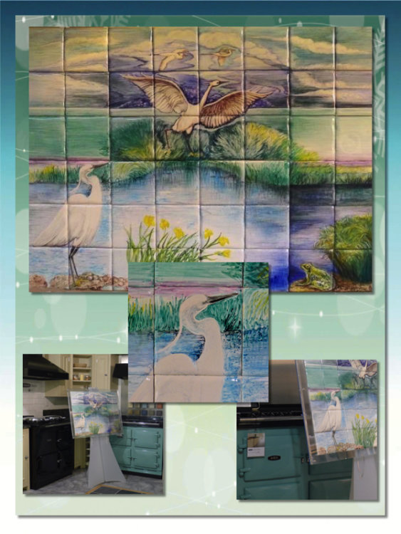 "Hand Painted Tile Mural ""Little Egrets"" with Details"