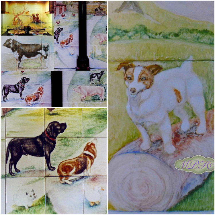Examples of past Tile Mural Commissions. Portraits of individual Animals Personal to the Customer.