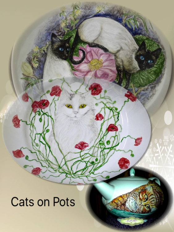 Cats Hand Painted onto China