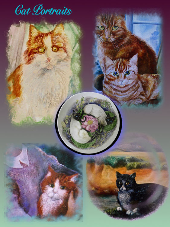 Cat Portraits onto Canvas, China and Pastel Paper