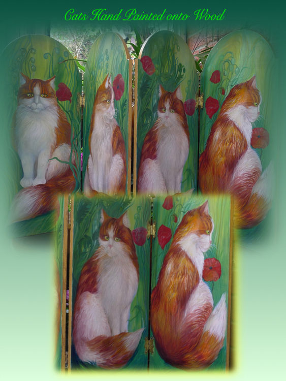 Cats Hand Painted onto Screens