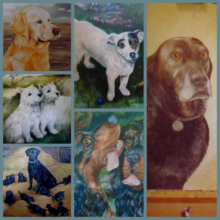 "Portraits of Dogs ""Good Old Friends"" Oil Paintings"