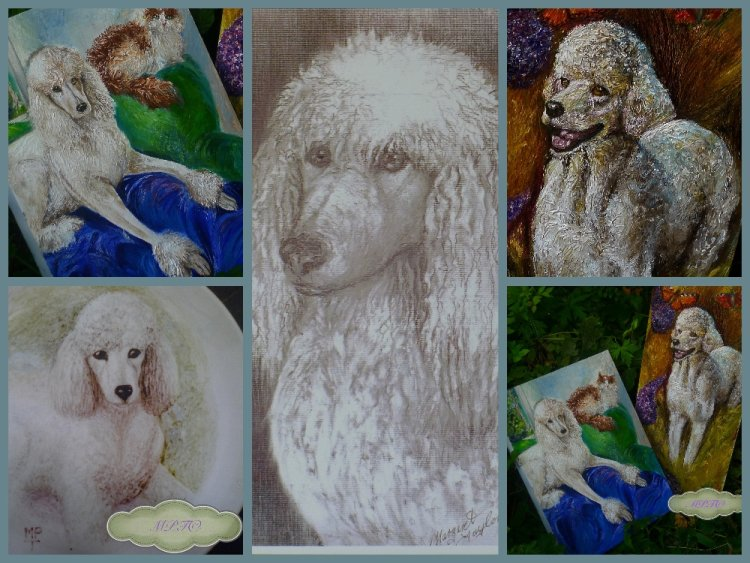 Paintings, Drawings & Painted Plates of Standard Poodles.