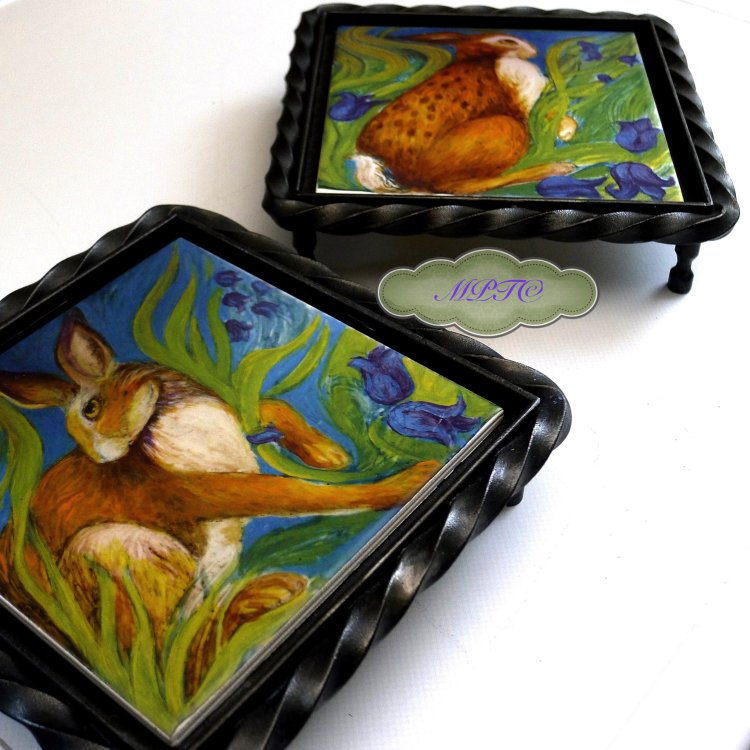 "Hare Belles Printed Tiles mounted in ""Blaksmiths"" Trivets, £44.99 each. £5. P&P"