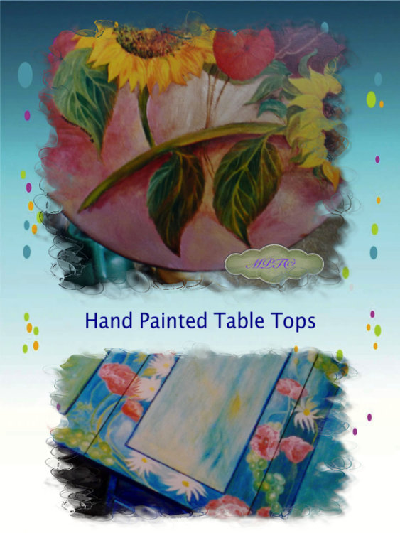 Examples of Hand Painted Table Tops
