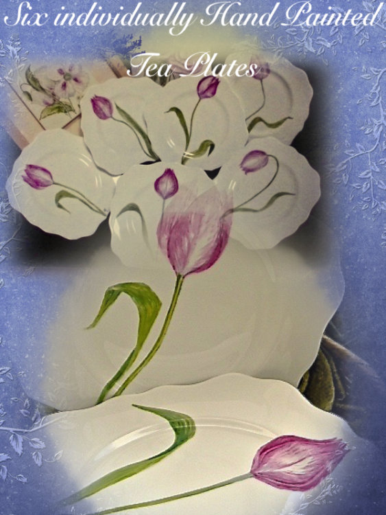 Six Hand Painted Tulips on Fine Bone China Tea Plates Inc P&P £109, 99