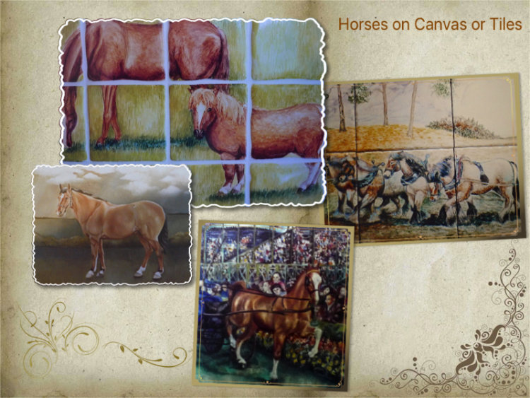 Horses on Canvas or Tiles