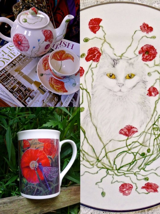 Examples of Hand Painted China and Printed Mug