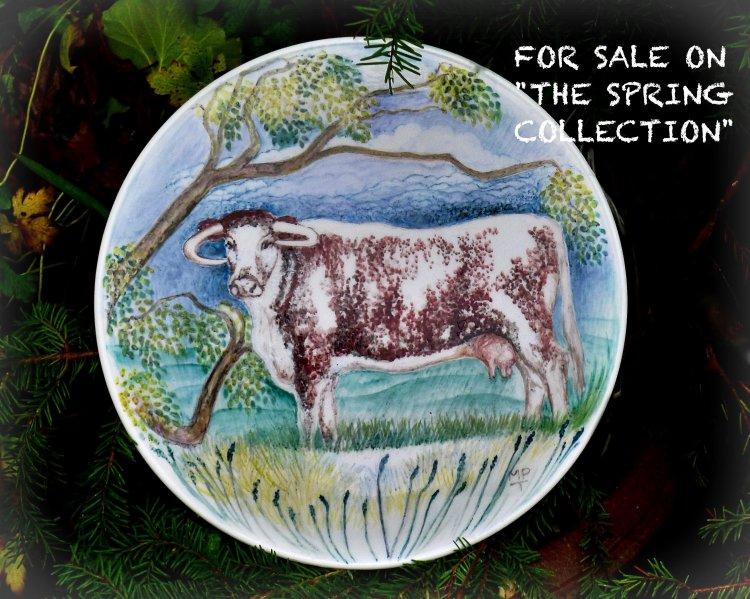 """""""Longhorn Platter"""" Unique Hand Painted Platter."""
