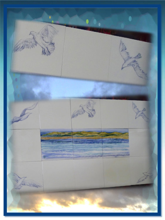 "Hand Painted Splashback. Fifteen 6"" Tiles.Sale Price £125.00 + £19.99 Next Day Delivery."