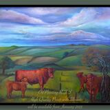 Oil Painting of Lincoln Red Cattle
