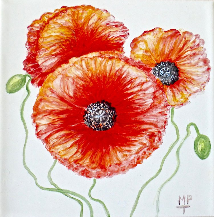 Three Poppies Tile Picture. This is the original design used in a Tile Backsplash.