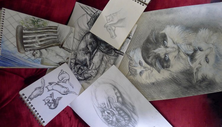 Cats in Art. Drawings and Paintings