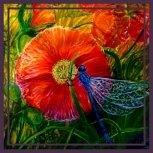 'Poppy & Damsel Fly' Click Logo to Email Margaret.                            Go to Galleries Menu       to view all aspects       of Margaret's         artworks