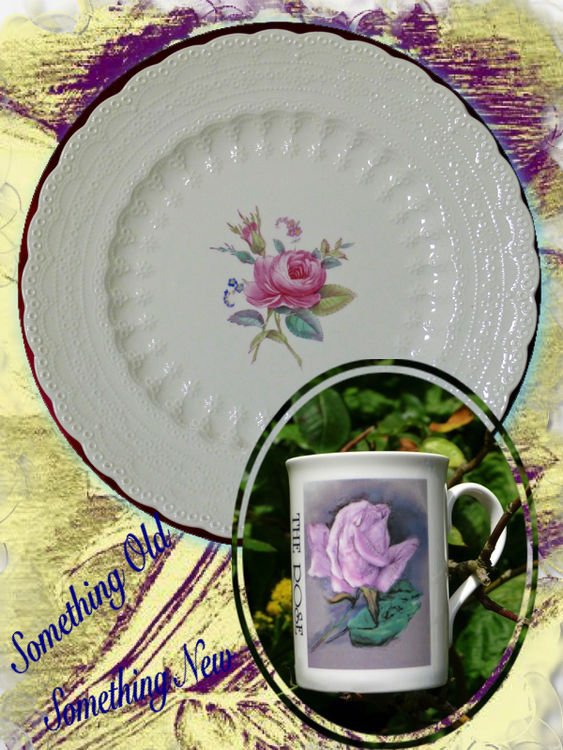 Something Old Something New: OLD: Spode Plate. NEW: Rose Mug. Together £25.00