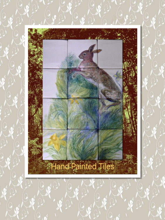"""Leaping Hare"" 12 Tile Panel. Sold"
