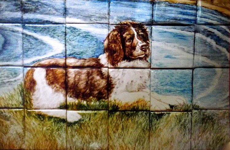 Detail of Dog on Tile Mural