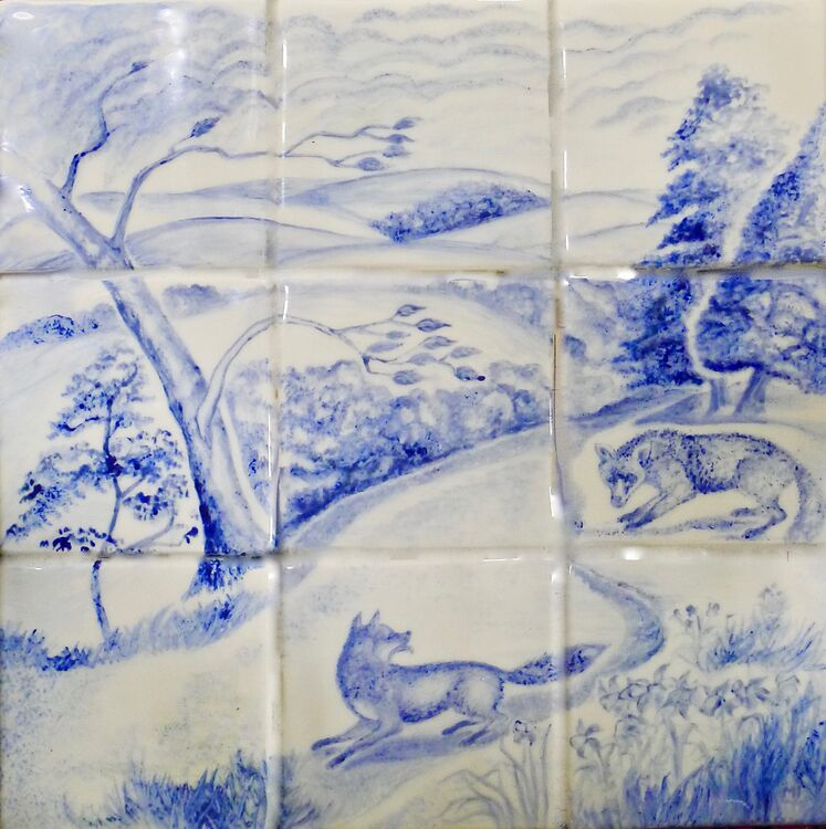 """Two Foxes"" 9 Tile Backsplash. Original Hand Painted Tiles £145.00"