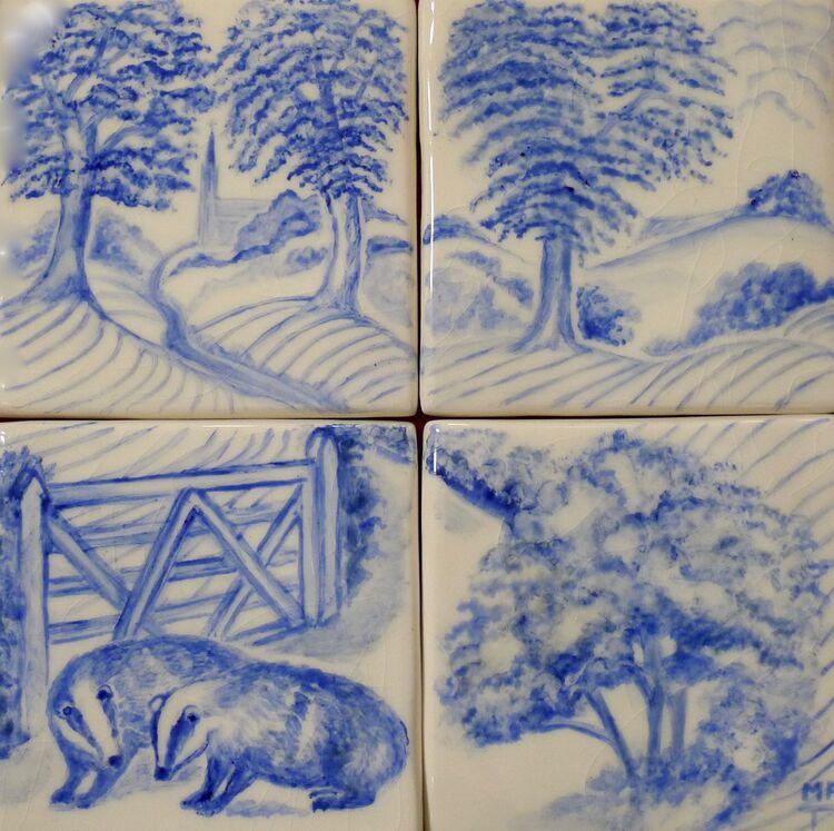 """Two Badgers"" Hand Painted Tile Backsplash. £119.99."