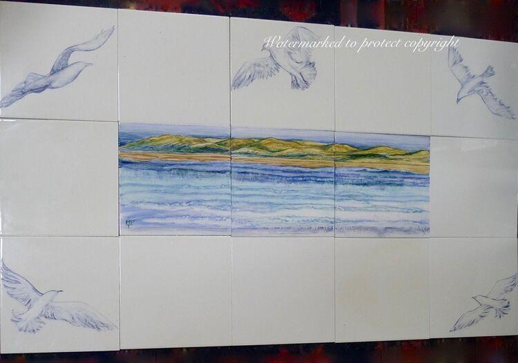 "Hand Painted Splashback. Fifteen 6"" Tiles.Sale Price £125.00."