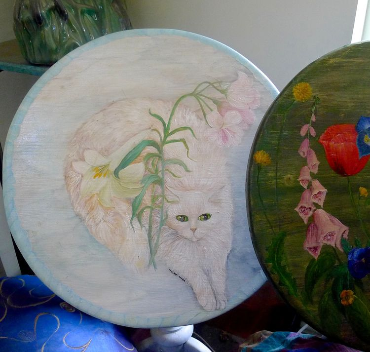 Hand Painted Table with Portrait of Cat