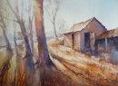 """Bright Winter Sun, Windrush - 10"""" x 14"""" Watercolour SOLD"""
