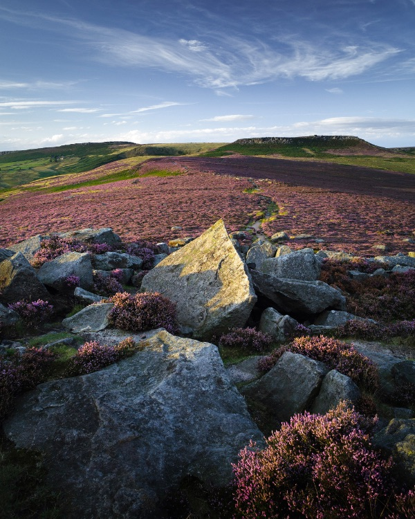 Pointing toward Higger Tor, August evening