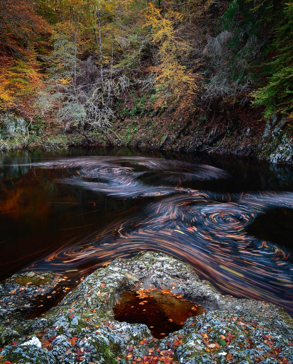 Swirling leaves, River Garry, Perthshire