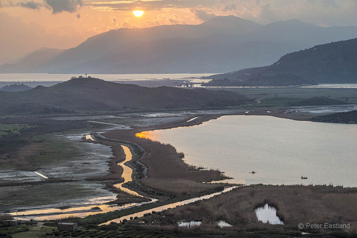 Sunset across the wetlands surrounding Butrint in southern Albania. - 2015<BR><BR><BR><br><br><br><br>