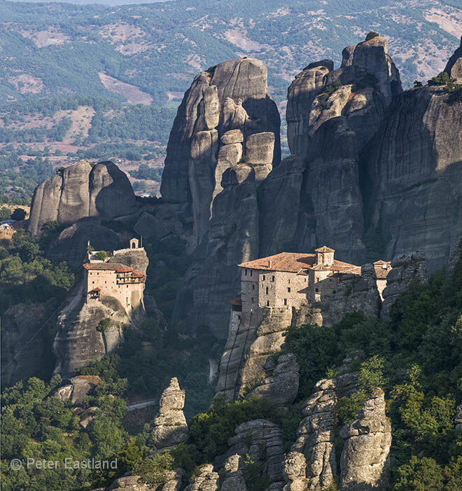 Looking down on the monasteries of Roussanou (right) and St. Nicholas Anapafsas (Left). Meteora, Kalambaka, Thessaly, central Greece<br><br><br><br><br><br>.