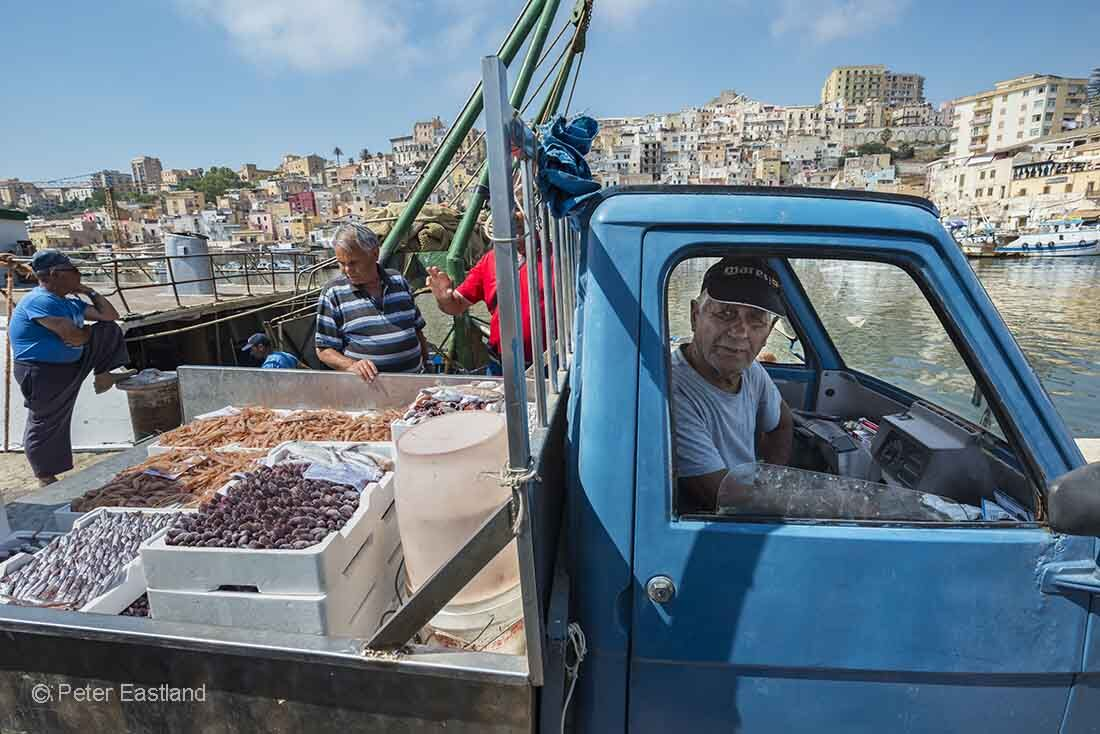 Freshly unloaded fish being sold on the quayside in the fishing port of Sciacca in Southern Sicily, Italy.<br><br><br><br><br><br>