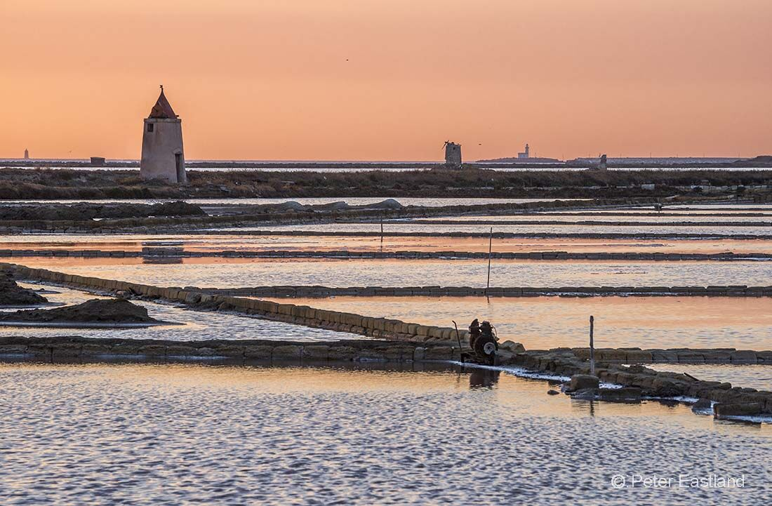 Saltpans at Nubia, south of Trapani, on the west coast of Sicily, Italy.<br><br><br><br><br><br>