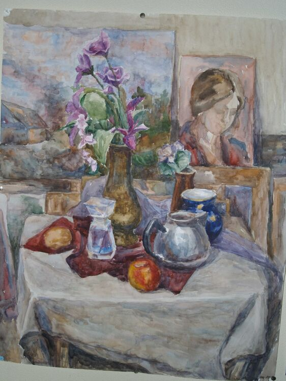 """Still Life with Perfume Bottle and a Portrait <font color=""""red"""">•</font>"""