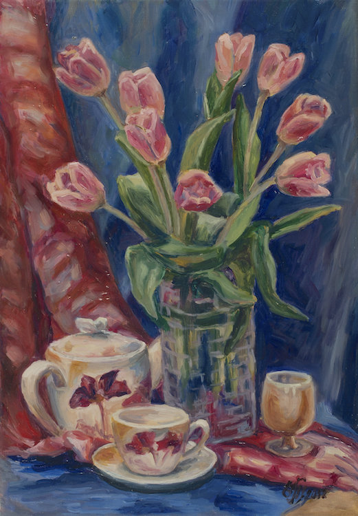 """Tulips in Blue Dressing <font color=""""red"""">•</font>"""