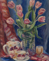 Tulips in Blue Dressing •