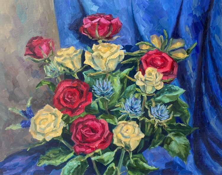 Still Life with Red and White Roses - £350