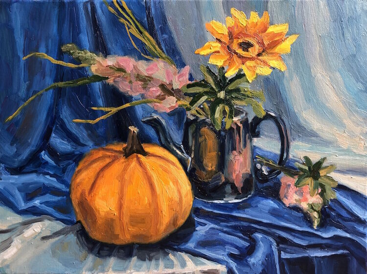 Still Life with Yellow Pumpkin and Flowers - £220