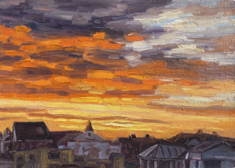 Sunset Over Hampton Court Bridge - £140