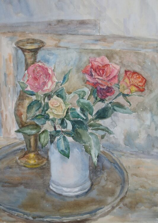 """Still Life with Roses on a Tray <font color=""""red"""">•</font>"""