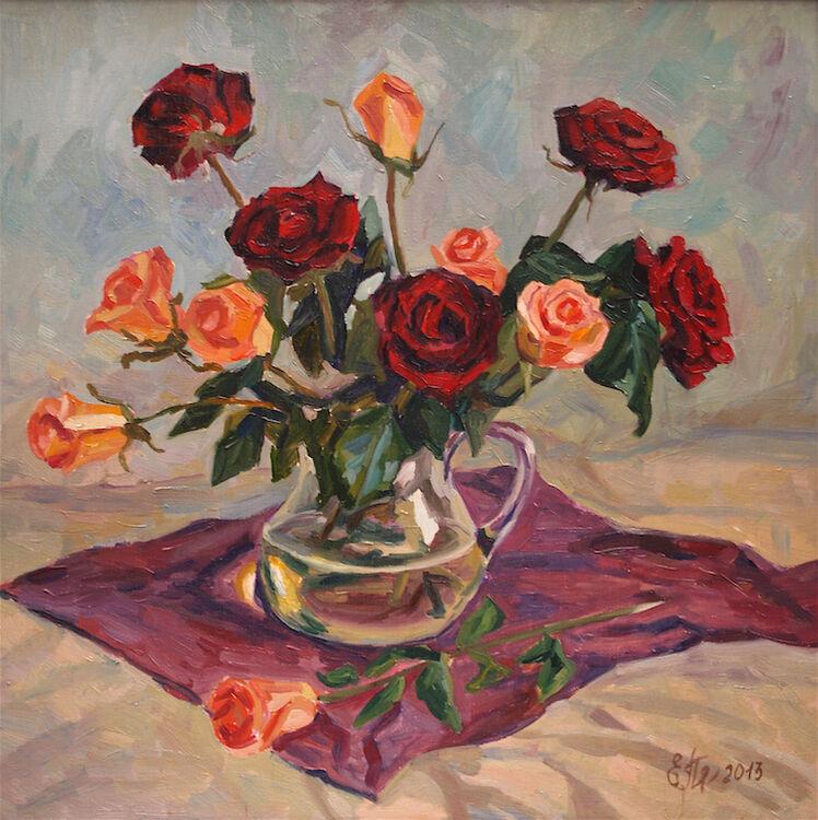 Burgundy and Peach Roses on the Floor - £1570
