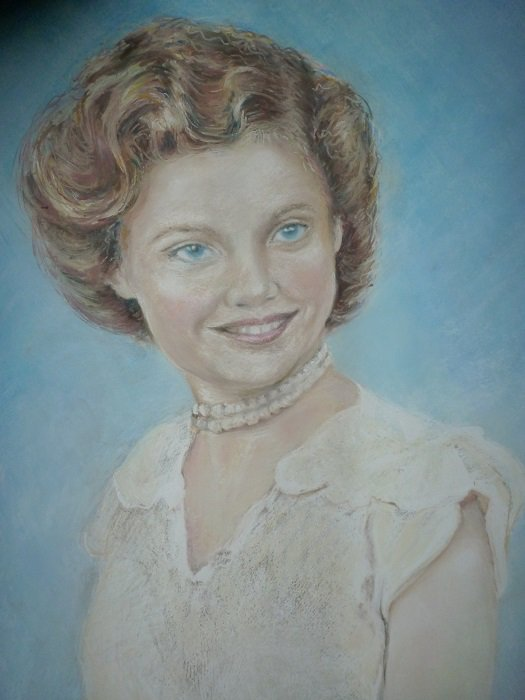A pastel painting  from a sepia photograph of a much loved mother.
